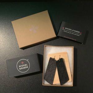 Nickel and Suede Onyx Gem Leather Earrings